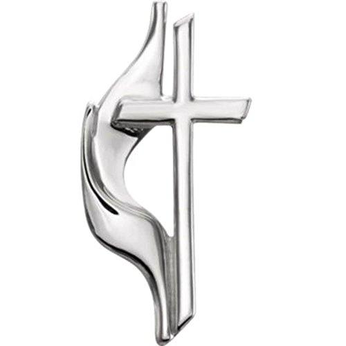 Methodist Cross Lapel Pin in Sterling Silver