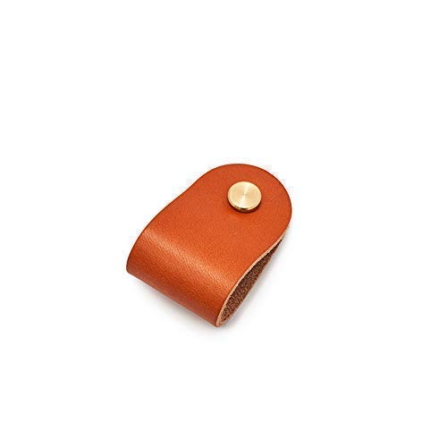 Yankee Tan Leather Drawer Pull with Brass Hardware/Modern Furniture Finishing from Son of a Sailor