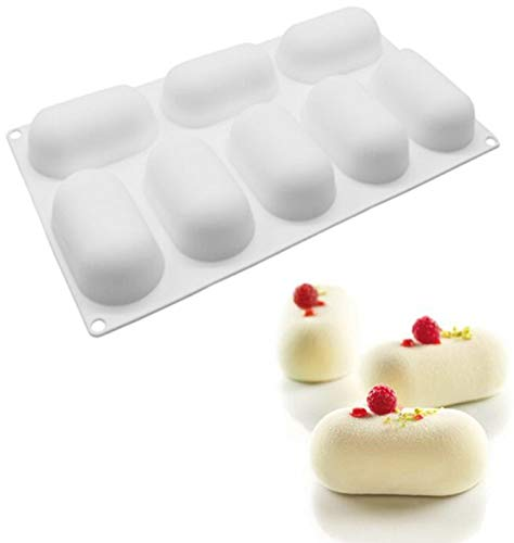 - Silicone Molds 3D Pillow Shaped Non-Stick Bake Cake Mould Diy Dessert Molds, 8-Cavity
