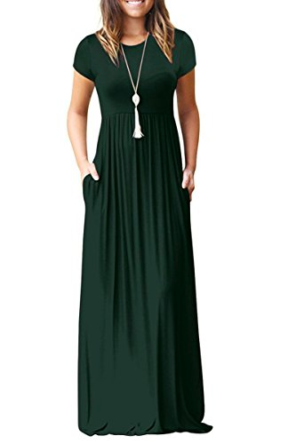 Womens Fitted Fine Jersey Tee - Euovmy Women's Round Neck Short Sleeve Maxi Dresses Casual Long Dresses with Pockets Dark Green Large