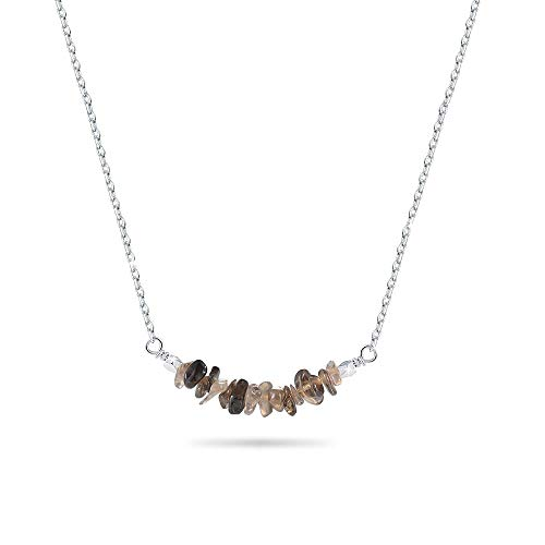Jeka Smoky Quartz Gemstone Bar Necklace for Women Girls Natural Pendant Jewelry 18k White Gold Plated Silver Chain Gift for ()