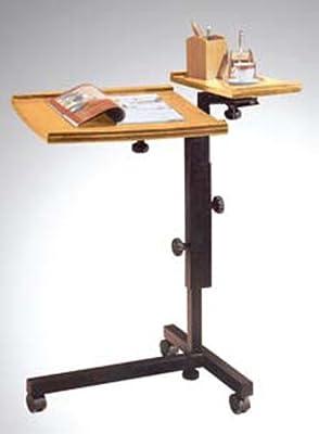 Adjustable Mobile Oak Laptop Computer Caddy Cart Stand