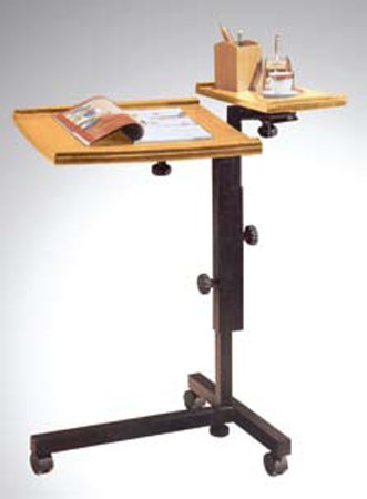 Adjustable Mobile Oak Laptop Computer Caddy Cart Stand