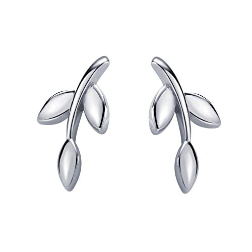 S.Leaf Leaf Stud Earrings Olive Leaf Earrings Sterling Silver Leaf Studs for Woman (Leaf A)