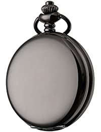 Steampunk Vintage Pocket Watch,Stainless Steel Quartz Pocket Watch 14 in Chain for Xmas Fathers Day Gift (Black)