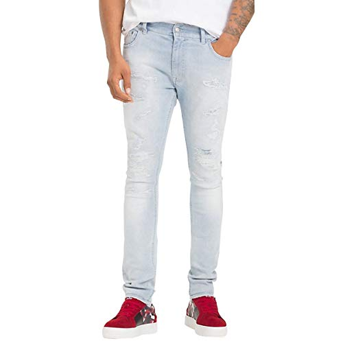 X 30 In Stretch Cotone Lewis Tommy Blue Jeans Distressed Light Mw0mw08273911 Hamilton Size A6q7d