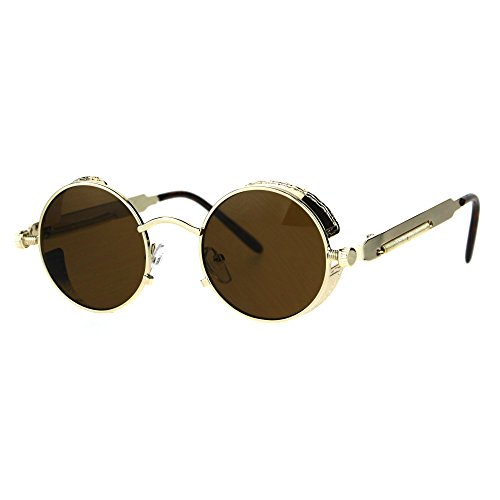 Victorian Vampire Steampunk Round Circle Lens Vintage Style Metal Sunglasses Gold - Victorian Sunglasses Steampunk