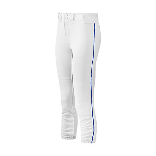 Mizuno Women's Select Belted Piped Pant (White/Royal, Large)