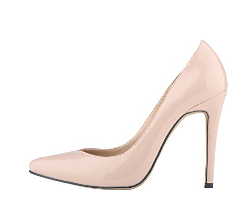 Pointed Stiletto pu Heel Shallow High Mouth nude Women's Toe patent Shoes Pumps Elegant 5ZXqqwS