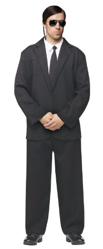 [FunWorld Men's Black Suit Complete, Black/White, One Size Costume] (Black Men Halloween Costume)