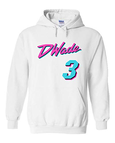 Wade D Jersey (PROSPECT SHIRTS White Miami Wade Miami Vice Hooded Sweatshirt Adult)