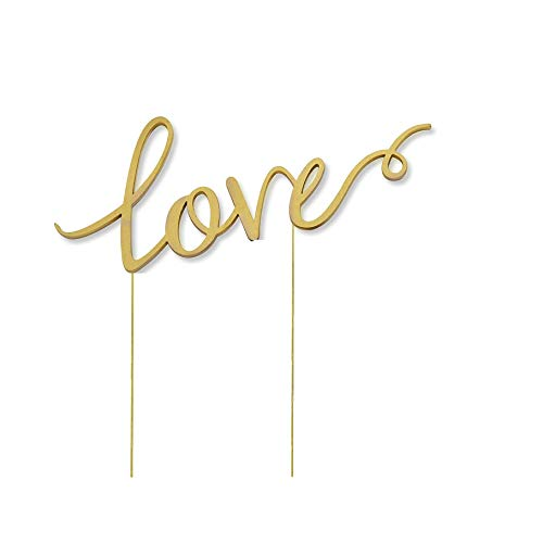 (Love Wedding Cake Topper, Metal Alloy Anniversary Bridal Shower Decoration Gift Ideas, Gold)