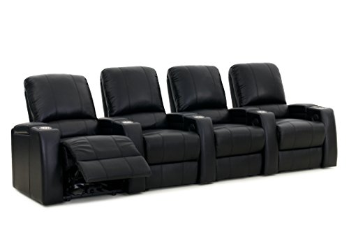 Octane Seating Storm XL850 Media Room Furniture Black Leather - Arm Storage - Power Recline - Straight Row of 4 Chairs