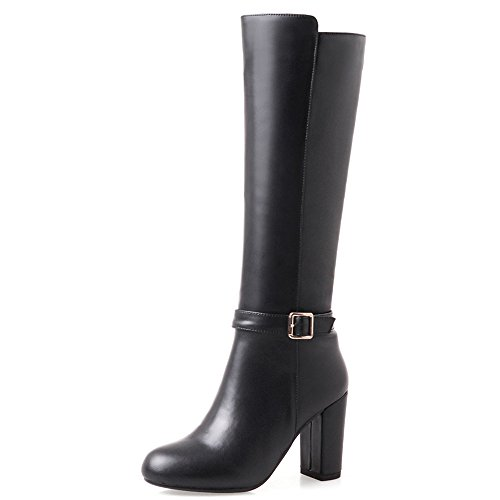 Dress Heel Handmade Toe Chunky Women's Black Genuine High Buckle Nine Boots Leather Round Knee Seven WvUKcqC