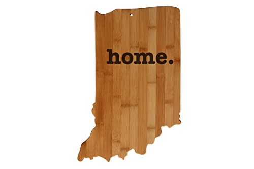 Indiana State Shaped Bamboo Wood Cutting Board Engraved home. Personalized For New Family Home Housewarming Wedding Moving Gift