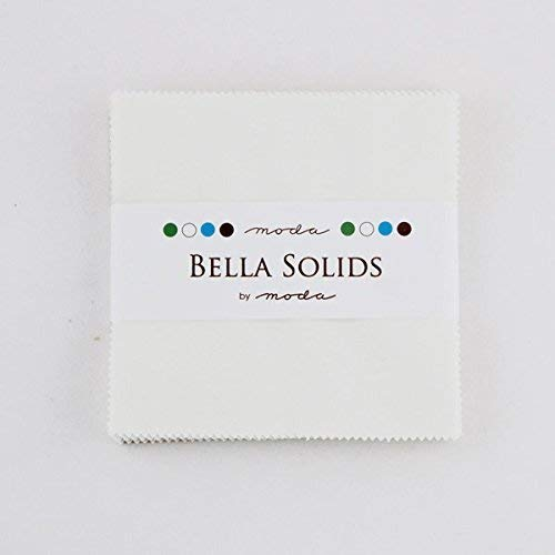 - Moda Bella Solids White Bleached 9900PP-98 Charm Pack, 42 5-inch Cotton Fabric Squares