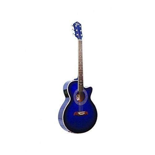 Oscar Schmidt 6 String OG10CE Cutaway Acoustic-Electric Guitar Trans, Right, Flame Transparent Blue (OG10CEFTBL-A)