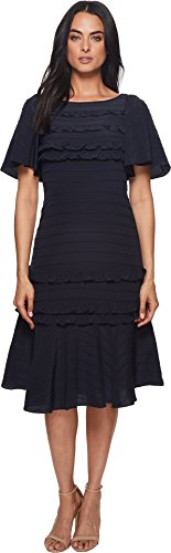 Rebecca Taylor Women's Short Sleeve Silk & Lace Dress Navy/Black 10 - Rebecca Taylor Silk Skirt