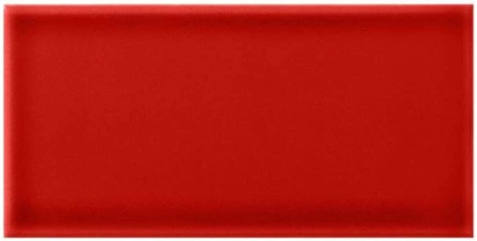 Red 3x6 Ceramic Glossy Subway Wall Tile for Kitchen Backsplash and Bathroom Wall (Box of (12 Sqft))