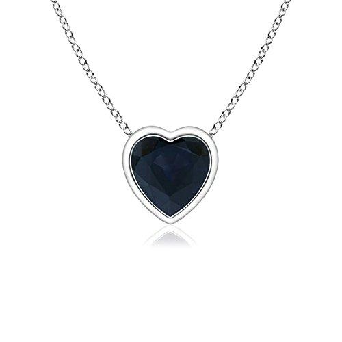 (Bezel-Set Solitaire Heart Blue Sapphire Pendant in 14K White Gold (4mm Blue Sapphire))