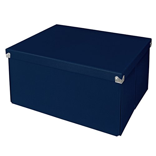 Large Foldable Box (Pop n' Store Decorative Storage Box with Lid - Collapsible and Stackable - Large Mega Box - Navy Blue - Interior Size (14.625