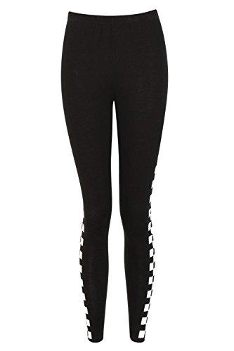 Boohoo Womens Zoe Checkerboard Side Leggings In Black Size 8