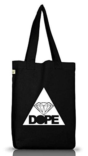 Shirtstreet24, DOPE TRIANGLE, Dreieck Diamant Diamond Jutebeutel Stoff Tasche Earth Positive Black