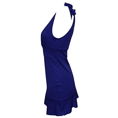 Cuello Redondo Mangas Azul Casual Vestido Slim Sólido Color Verano Atractivo Correa Moda Mini De Alta Sin Cintura Mujer Fit Vjgoal wqCgFp8x