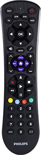 Philips Universal Remote Control for Samsung, Vizio, LG, Sony, Sharp, Roku, Apple TV, RCA, Panasonic, Smart TVs, Streaming Players, Blu-ray, DVD, Simple Setup, 4-Device, Black, SRP9243B/27 (Philips Universal Remote Codes For Lg Tv)