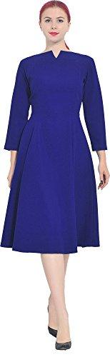 Marycrafts Womens Elegant Classy Office Business Long Tea Midi Dress 0 Royal Blue