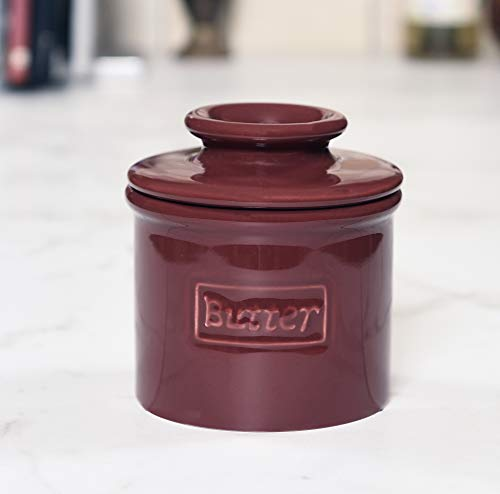 Butter Bell - The Original Butter Bell Crock by L. Tremain, French Ceramic Butter Dish, Café Retro Collection, Crimson