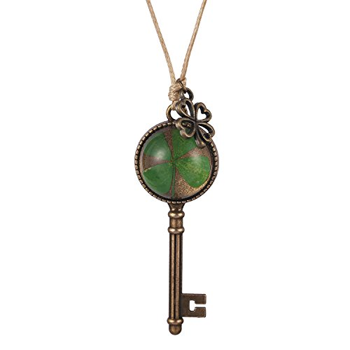 Lucky Charm Pendant Necklace (FM42 Real Irish Lucky Four Leaf Clover Key Pendant Necklace with Clover Charm)