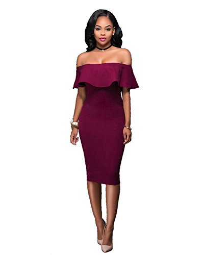Women Cocktail Party Dress Wine Red - 8
