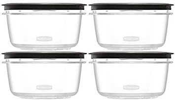 Rubbermaid Premier Food Storage Container, 4 Pack, 5 Cup, Clear