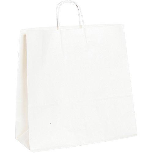 Paper Shopping Bags, 16'' x 6'' x 15 3/4'', White, 200/Case by Choice Shipping Supplies (Image #1)