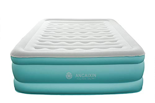 Ancaixin Updated Queen Air Mattress with Built-in Pump, Full Size Camping Airbed, Self Inflating Raised Comfort Guest Bed with Storage Bag and Repair Patches, 80 x 60 x 18 inches Aqua/Grey