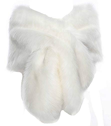 Changuan Faux Fur Shawl Wrap Stole Shrug Winter Bridal Wedding Cover Up for Wedding/Party/Evening White