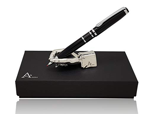 ACELY Executive Carbon Fiber Gel Ink Ball Pen with Hand Shaped Pen Holder - Pen & Holder Set (Silver)