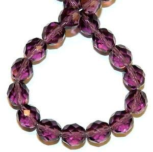 Steven_store CZ4141 Amethyst Purple 8mm Fire-Polished Faceted Round Czech Glass Beads 16
