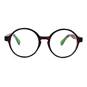 Amillet Wooden Vintage Retro Round Glasses Frame Clear Lens Fashion Circle Eyeglasses 48mm Brown