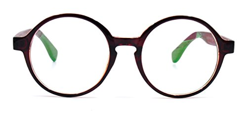 Amillet Wooden Vintage Retro Round Glasses Frame Clear Lens Fashion Circle Eyeglasses 48mm - Spectacle Wooden Frames