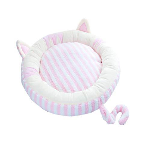 zhxinashu Puppy Cat Soft Pet Nest Dog Creative Washable Round Shape Sleep Bed(Pink/M:Diameter 65cm)