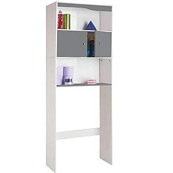 probache meuble tagre dessus wc bois coloris gris