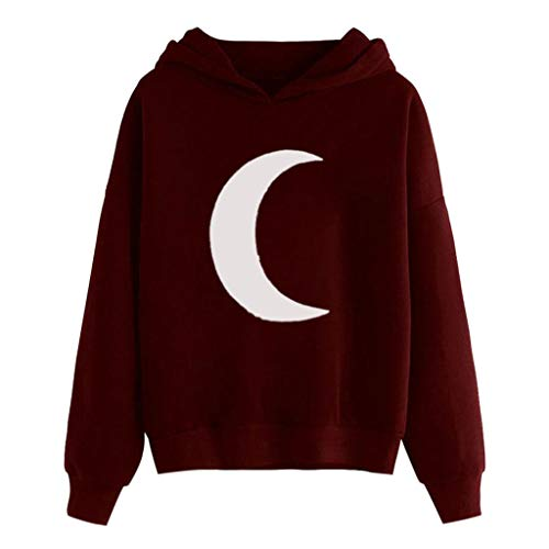 TUSANG Womens Shirts Moon Print Long Sleeve Hoodie Sweatshirt Hooded Pullover Tops Blouse Slim Fit Tunic(Wine,US-6/CN-M) (Difference Between Faux Leather And Bonded Leather)