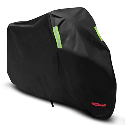 XXL Motorcycle Cover, All Season Waterproof Motorbike Cover with Lock Holes and Waterproof Strap, Great for Honda, Yamaha, Suzuki, Harley