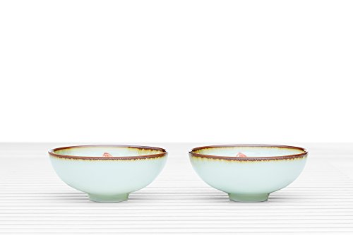 Tea Bowl Set of 2 Cups Summer Chawan Footed Porcelain Teacups Chinese Teaware (lotus at the seaside)