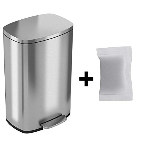 iTouchless SoftStep 13.2 Gallon Step Trash Can with Odor Filter & Removable Inner Bucket, Stainless Steel, 50 Liter Garbage Bin for Kitchen or Office