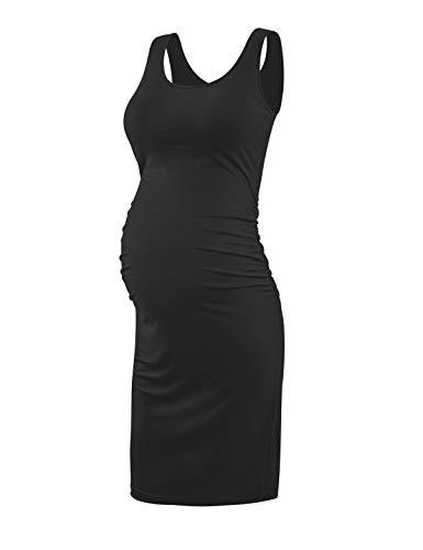KIM S Maternity Dress, Summer Maternity Dresses Bodycon Tank Dress (Black M)