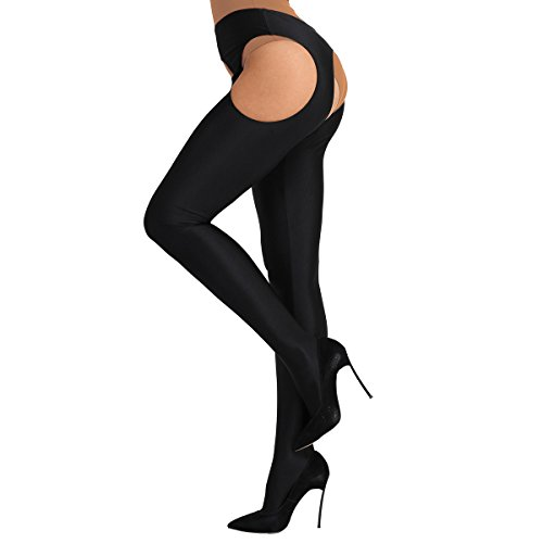 3c658fa852 Freebily Women's Hollow Out Crotchless Suspender Tights Stretchy Trousers  Pantyhose