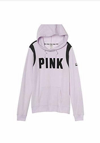 (Victoria Secret PINK CrossOver Hoodie Pullover Sweatshirt, Lilac/Purple/Black, XSmall)